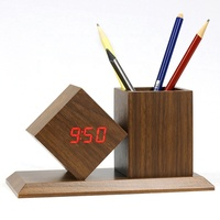 KH-WC010 Creative Fashion Sound Control Wooden Alarm Digital Display LED Multifunctional Table Bedside Clock With Penholder