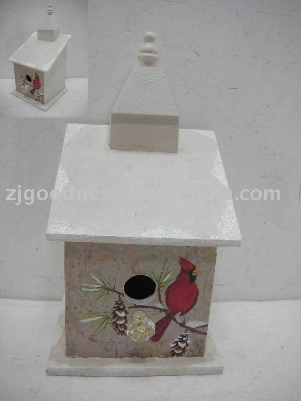 "12-1/4""H Xmas Wood Birdhouse"