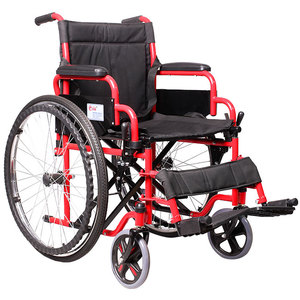 Comfortable 24 inch wheels steel folding manual wheelchair