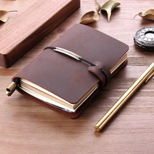 Refillable Genuine Leather Travel Notebook, Vintage Handmade Pocket Size Traveler's Journal Promotional
