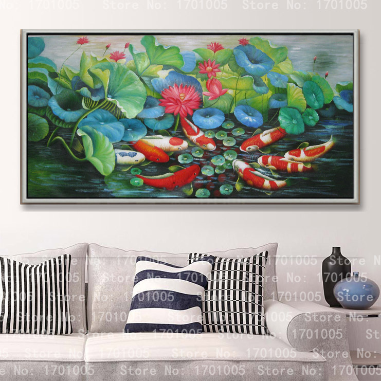 Free shipping modern oil painting for home deco wall hanging art lotus fish pool living room Decorative on canvas prints L01