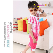 china wholesales stripe cotton sport children clothing set for boy and girl