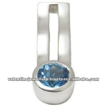 Blue Topaz Pendant Customizable genuine in Silver for mens in bezel setting