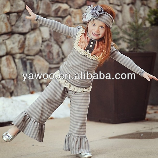 9366c1de2cf3 Hot Sale! Cute Factory Price Grey Stripe Top And Pants For Wholesale ...
