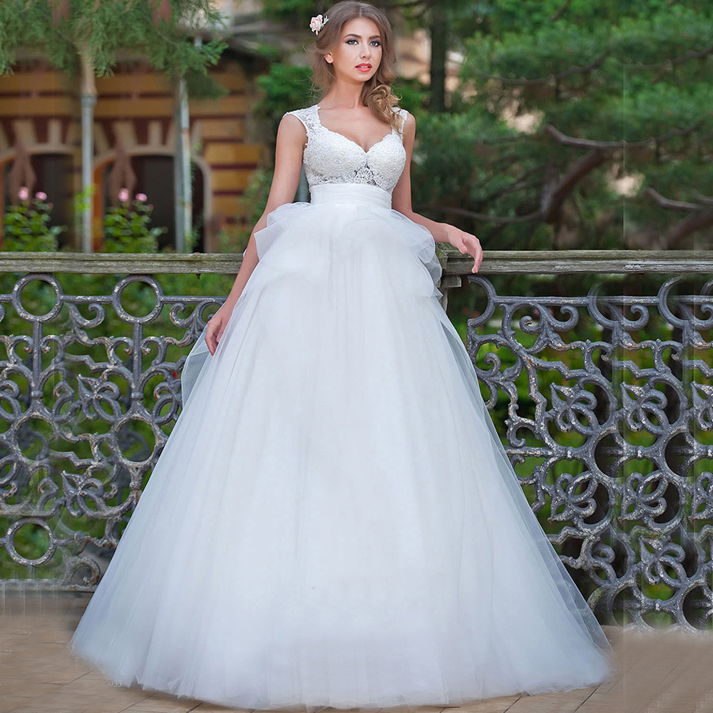 Simple Elegant Country Style Wedding Dresses With Lace: 2016 Vestidos De Casamento White Country Style Wedding