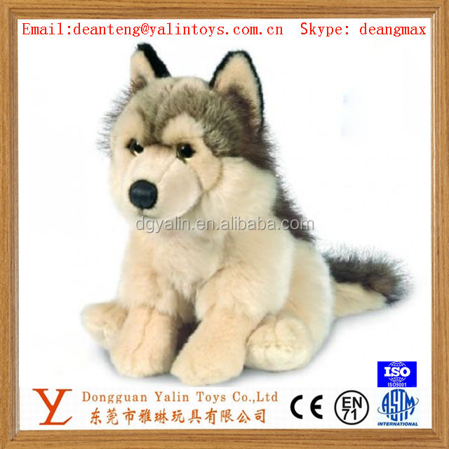 realistic handwork plush stuffed animal toys baby wolf plush toys for wholesale