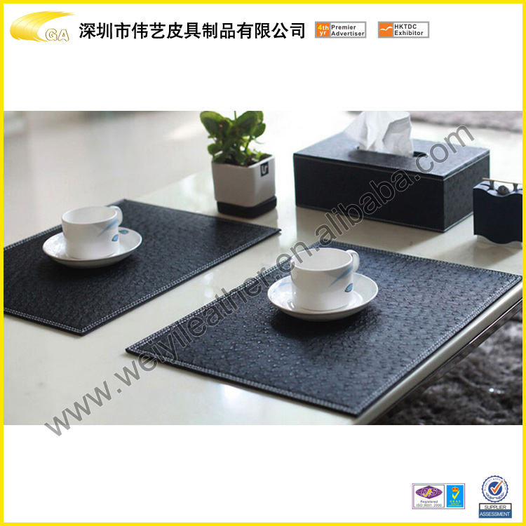 Cheap Promotion Gift Wholesale High Quality Fashion Fancy Square Customized Office Desk Mat Faux Leather Placemat Black