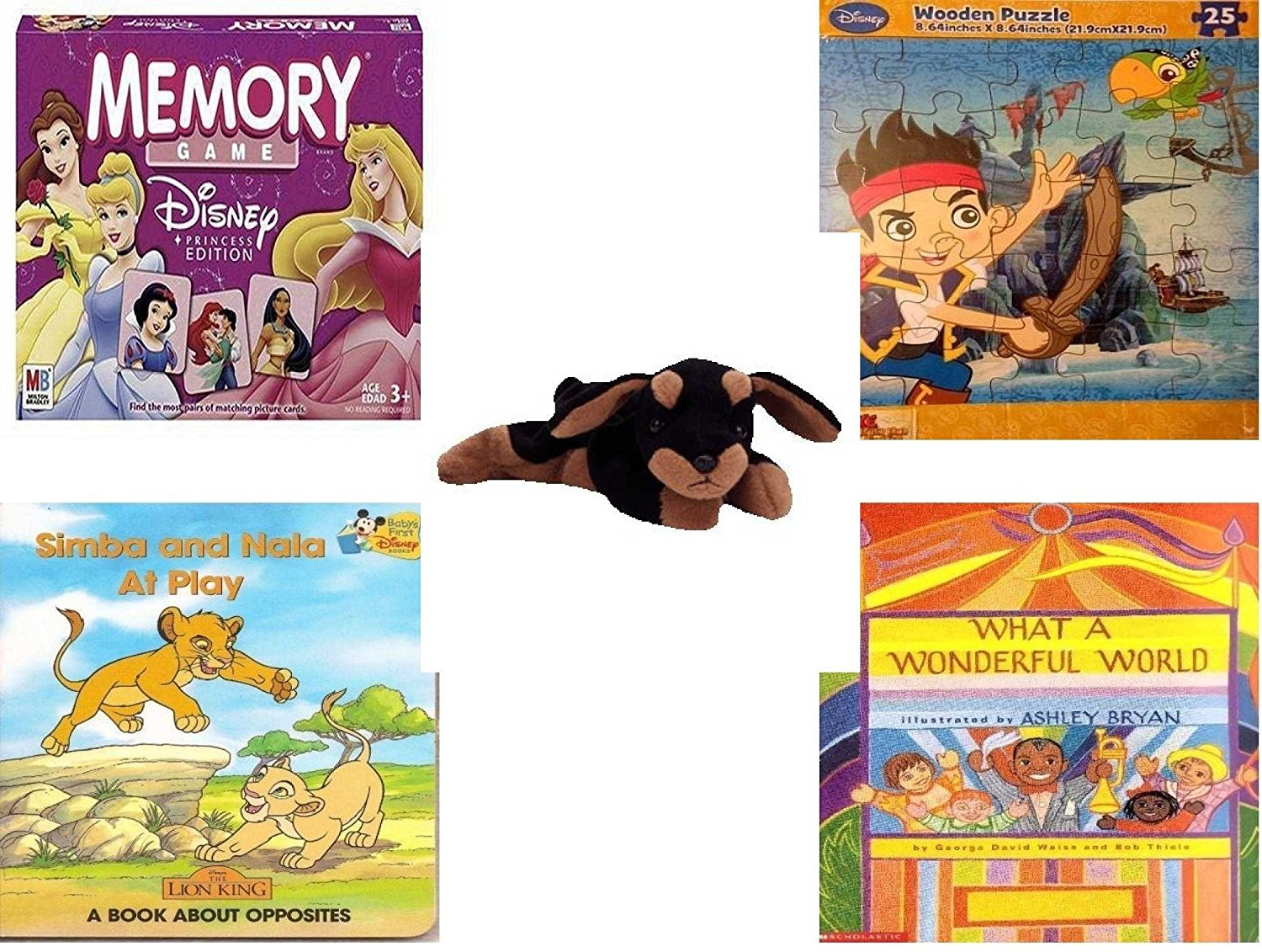 Children's Gift Bundle - Ages 3-5 [5 Piece] - Disney Princess Edition Memory Game - Disney Jake and The Never Land Pirates Puzzle Toy - Ty Beanie Baby - Doby the Doberman - Simba and Nala At Play: A