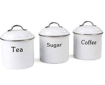 Hot Sale 3 Piece Coffee, Sugar,Tea Metal Canister Set /3pcs Coffee Storage container/coffee sugar tea jars
