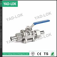 YAD-LOK BSP Acid 3-Piece Long Welding Ball Valve For Vacuum