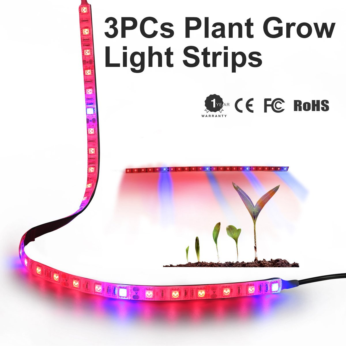 Plant Grow Strip Light LED Grow Light, 3Pcs 1.64ft Flexible Soft Plant Grow Bar Light, IP65 Waterproof 5050 SMD Red Blue 5:1 Growing Lamp with 2A Power Adapter for Indoor Plants,Greenhouse,Hydroponics