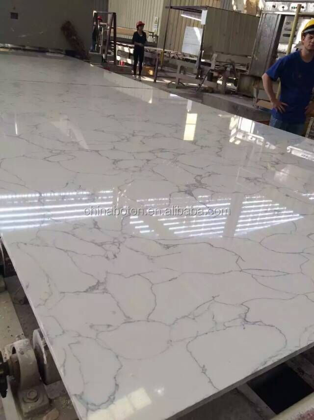 Countertop marble looking light grey vein white quartz stone