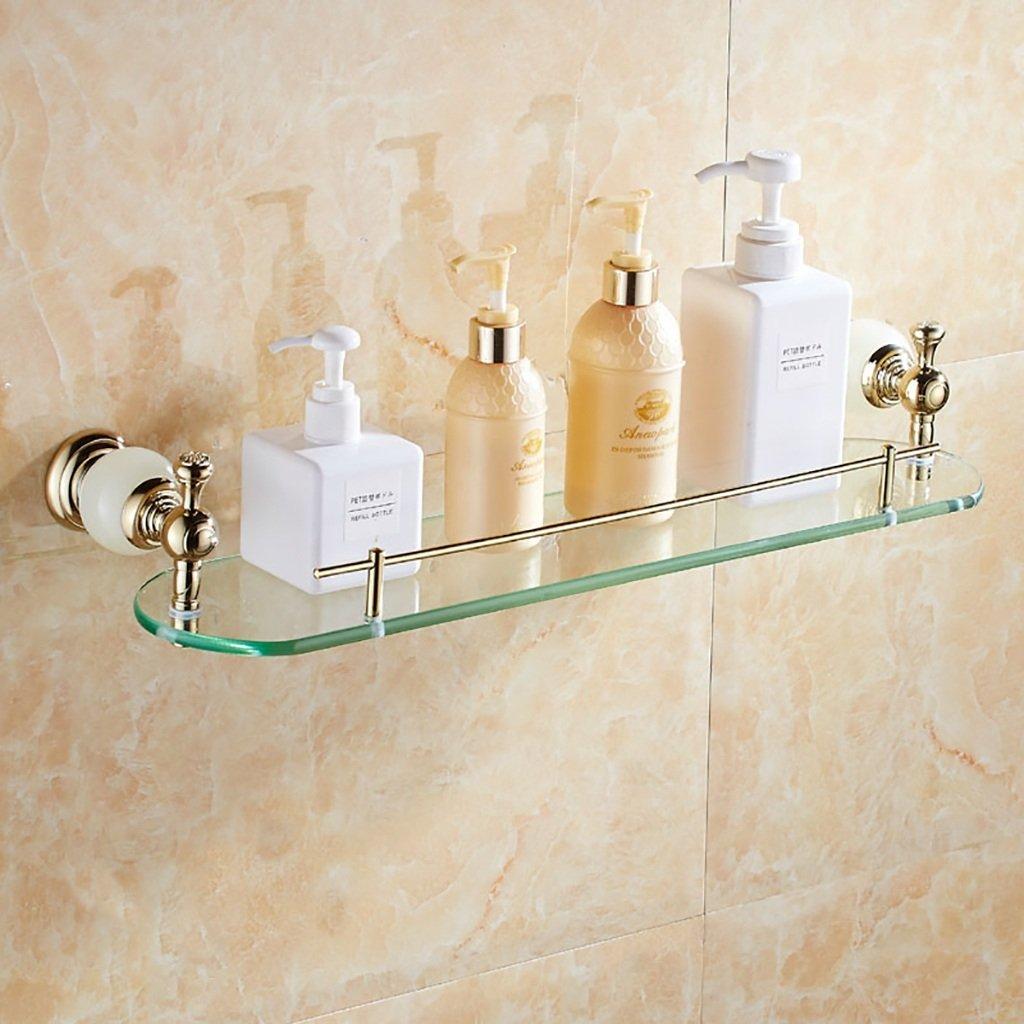 Bathroom Shelves Bathroom Shelf Full Copper Glass Bathroom Mirror Front Frame Glass Shelf Jade Cosmetic Shelf Single Layer Bathroom racks