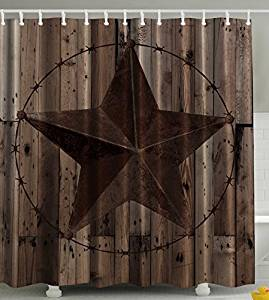 Get Quotations Think Yes Western Decor Southwestern Primitive Shower Curtain Barbwire Star In Wooden Plank Home Decorations And