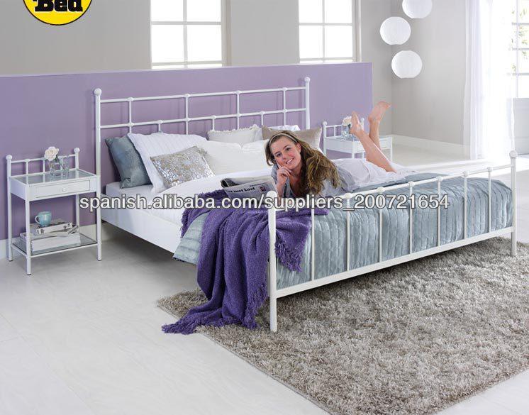 camas modernas blancas metales cama de matrimonio con listones de ...