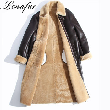 Women Girl Autumn Winter Long Slim Natural Genuine Sheepskin Leather Shearling Coat