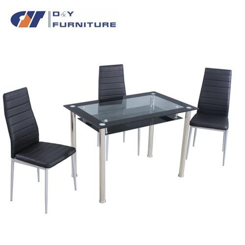 Tavolo da pranzo in vetro e 6 ecopelle sedie, chiaro e nero di vetro ...
