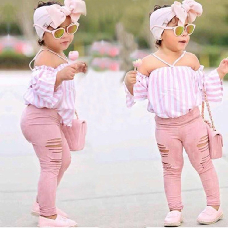 Three Pieces Pink Stripes Off Shoulder Cute Girl Baby Clothing Set