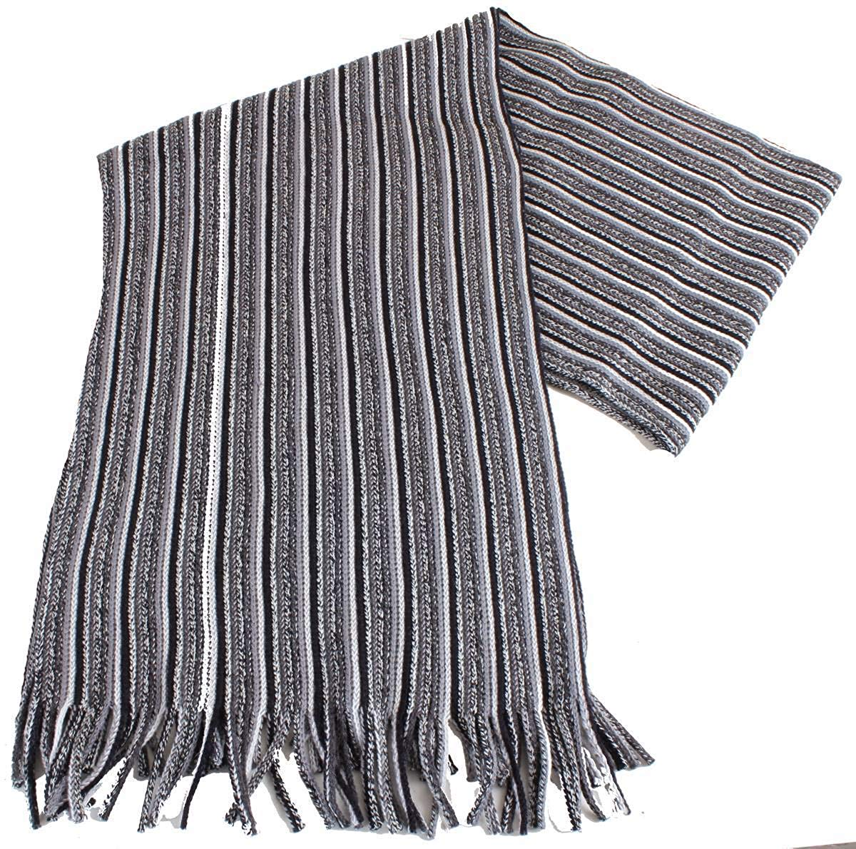 Bassin and Brown Mens Cowdrey Striped Scarf - Grey/Black/White