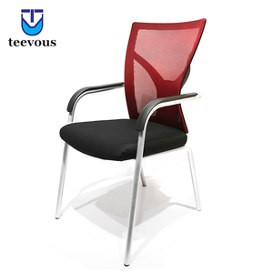 Custom office guest reception chairs red mesh and fabric no wheels conference chair