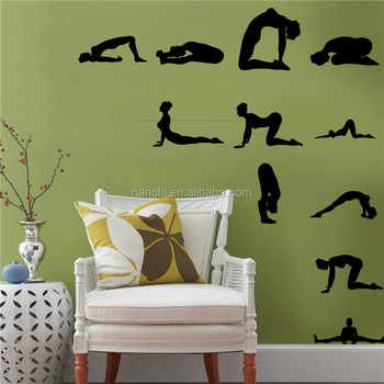 yoga silhouette figures wall stickers living room bedroom decor wall