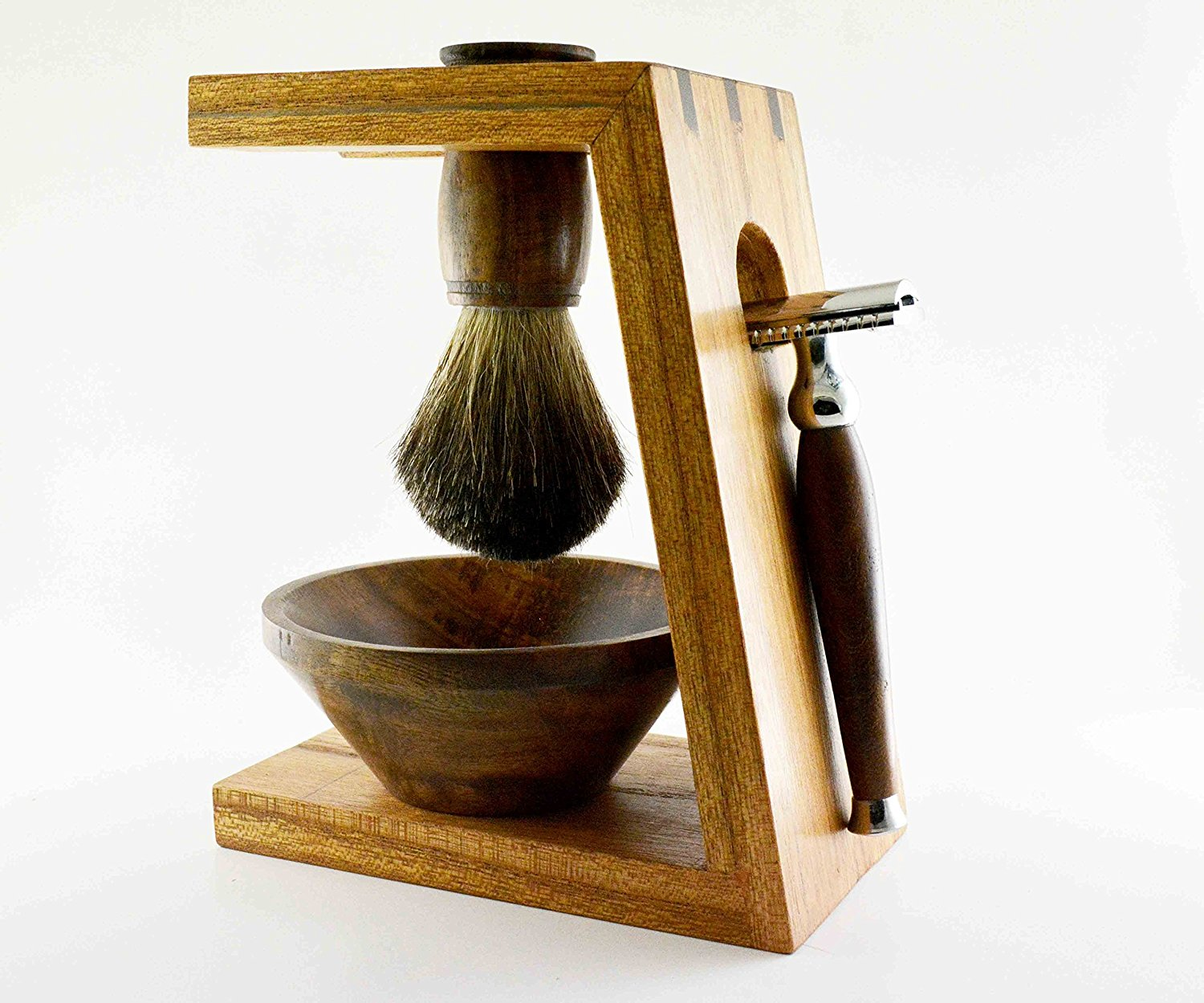 Safety Razor Shaving Kit By Cutlass | Safety Razor | Shaving Brush | Shaving Stand | Shaving Bowl | 5 Shaving Blades | Stainless Steel | Rosewood | 100% Money Back Guarantee*