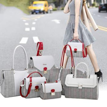 wholesale bags women pu leather handbags 2019 Hot sale set 6pcs lady hand bag