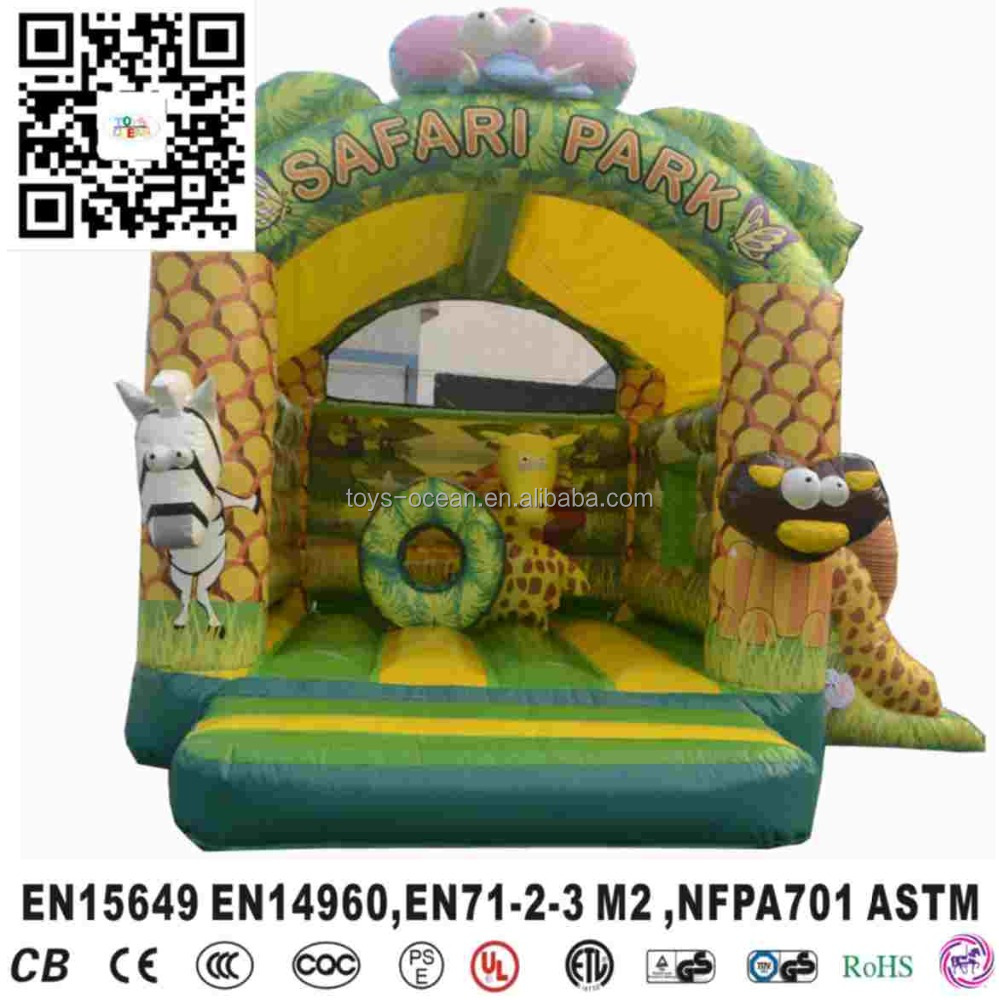Forest themed safari inflatable bouncy house park,Safari Park Inflatable Fun City With Slide