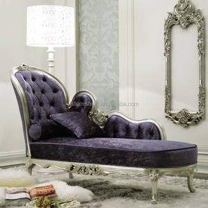 GD06 Foshan Momoda purple fabric silver frame with carved elegant chic lounge sofa home furniture used chesterfield couch