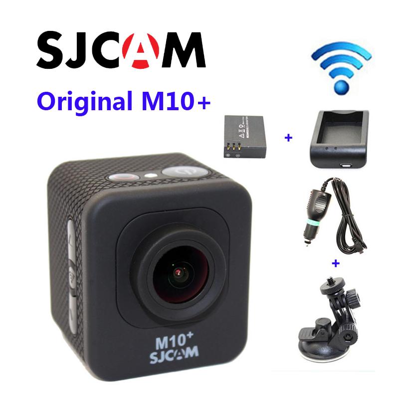 Бесплатная Доставка!! Оригинал SJCAM M10 Плюс Wi-Fi 2 К ГИРОСКОПА Спортивные Action Cam + Дополнительная 1 шт. батареи + зарядное Устройство + Автомобильное Зарядное Устройство + Автомобильный Держатель