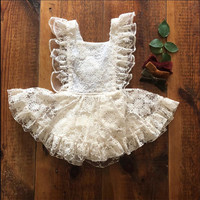 Summer hot sale baby girl clothes white lace sleeveless romper backless baby girl dress