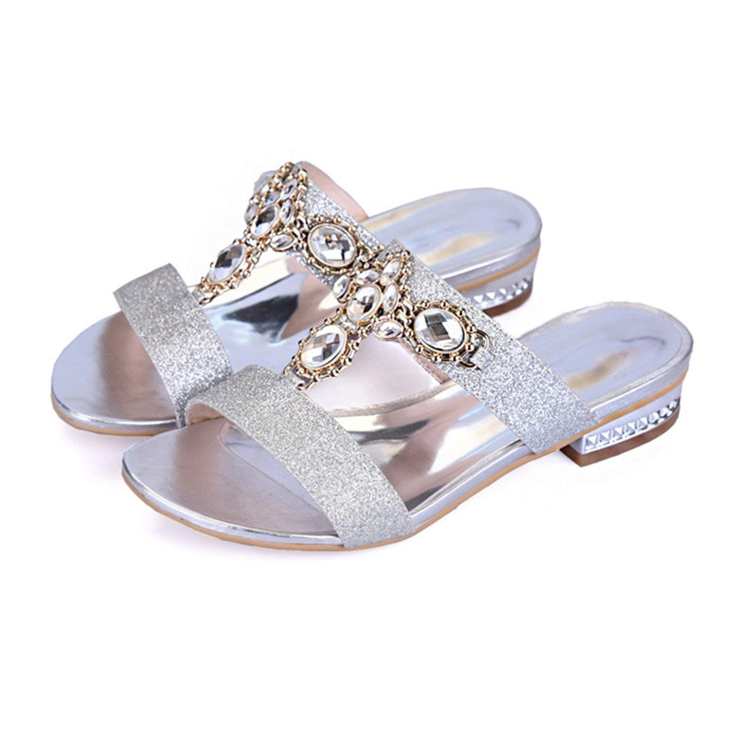 9a42fc0dd Get Quotations · Shoes Women Sandals Summer Rhinestone Ladies Slippers Open  Toe Low Heel Slides Crystal Sandals Sliver Gold