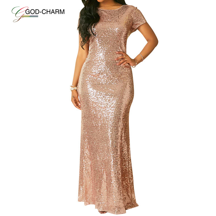*GC-86962505 2020 new Wholesale sexy cheap formal short sleeve gold sequin bridesmaid dresses long gown wedding African clothing