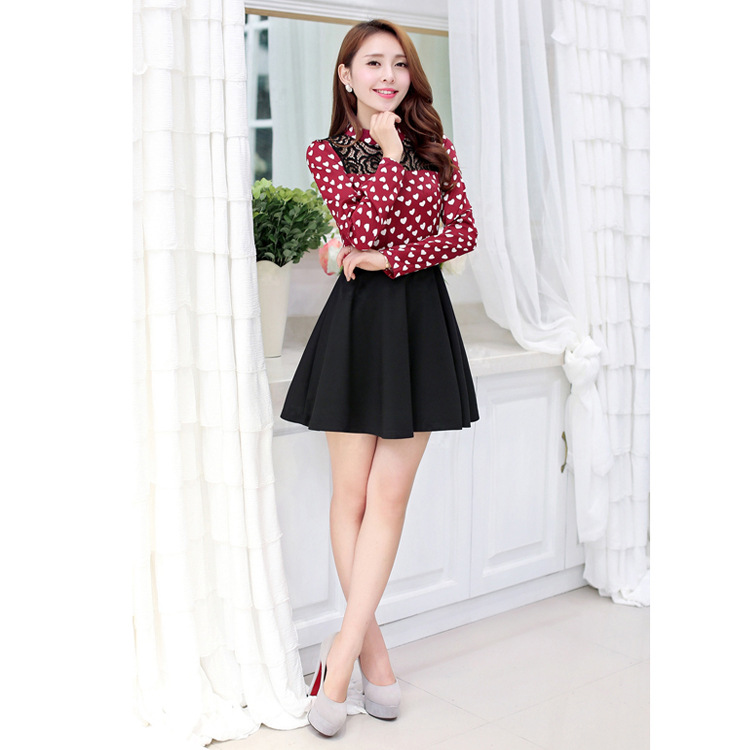 9ecf212ebe3c Get Quotations · New Fashion A-line Above-Knee Contrast Color Print Lace  Stitching Long Sleeved Half
