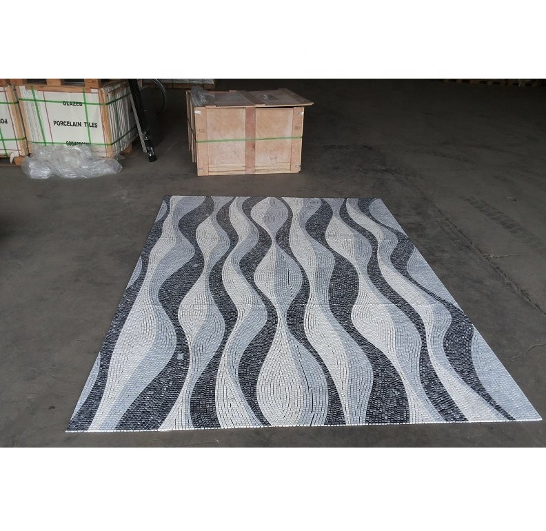 New Design Wave Pattern Swimming Pool Mosaic Tiles Shaped Shower Floor Mesh Backed