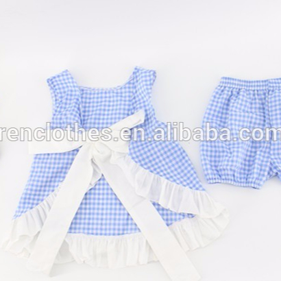 Summer teen gingham baby shower gift ruffle girl clothing set