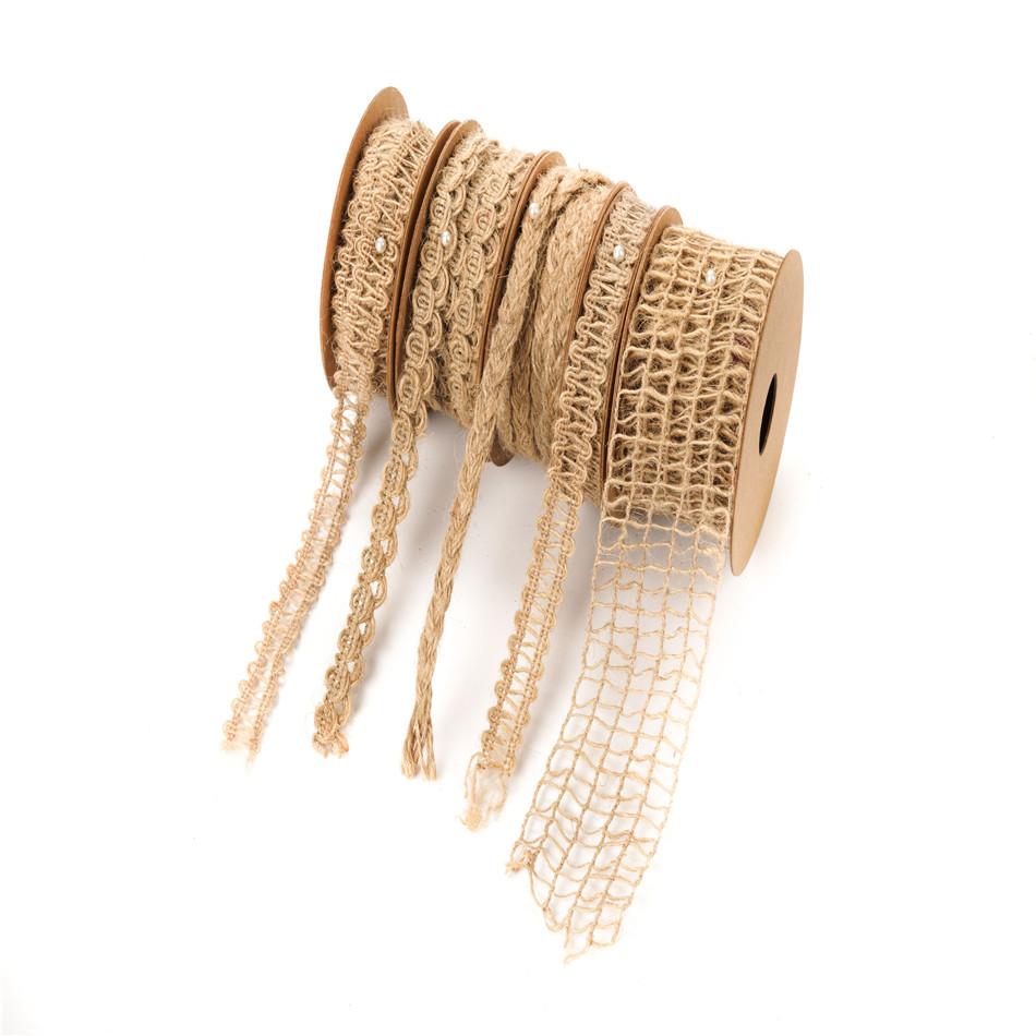 Christmas Design burlap ribbons jute roll nature jute ribbon for wedding flower packing