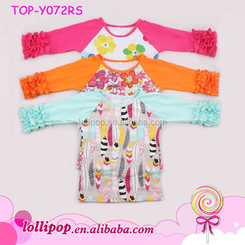 444db52d1b3 Adult And Kids Floral Ruffle Icing Raglan Shirts 3 4 SLeeves Halloween  Holiday Ruffle Raglan