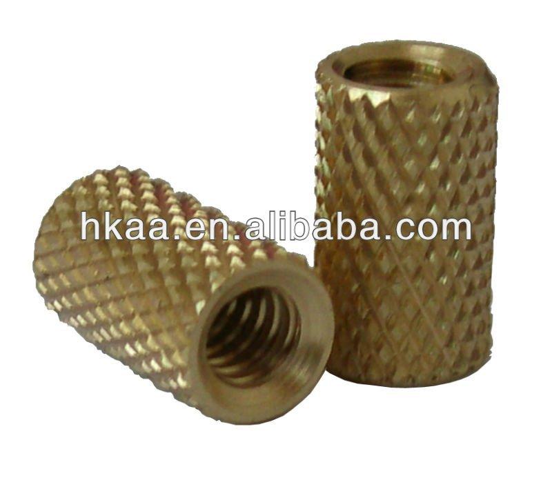 Blind threaded insert brass molded in thru