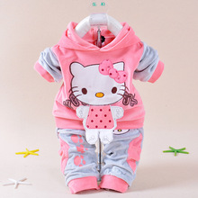 New 2015 Spring Baby Kids Set Velvet Hello Kitty Cartoon T Shirt Hoodies Pant Twinset Long Sleeve Velour Children Clothing Sets
