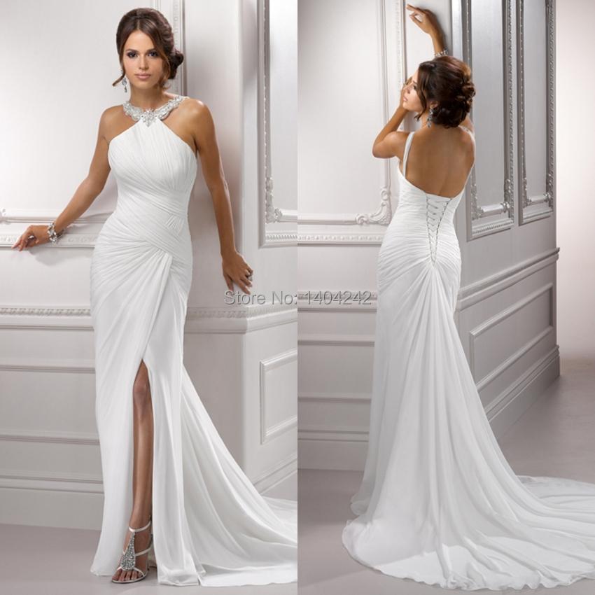 Hairstyle For Halter Neck Wedding Dress: High Quality Halter Neck Floor Length Off The Shoulder