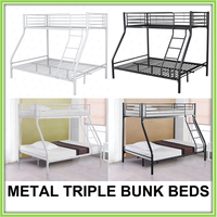 Montreal Double 3 Sleeper Bunk Bed Childrens Furniture Metal Triple Bunk Bed