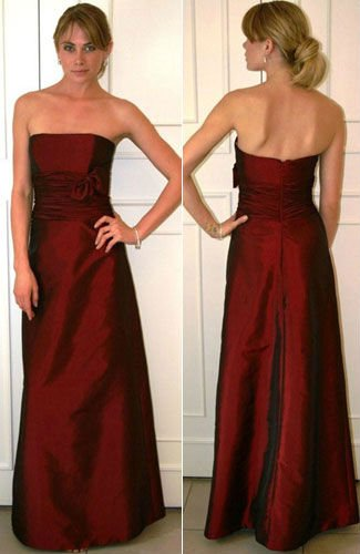 Scarlet tissue taffeta modified A-line formal bridesmaid gown