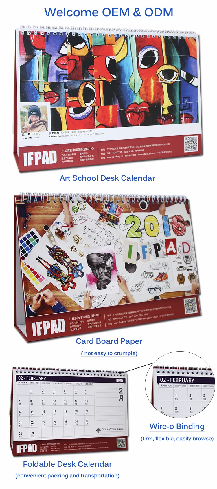Factory directly custom-made full color printing office desk calendar 2019
