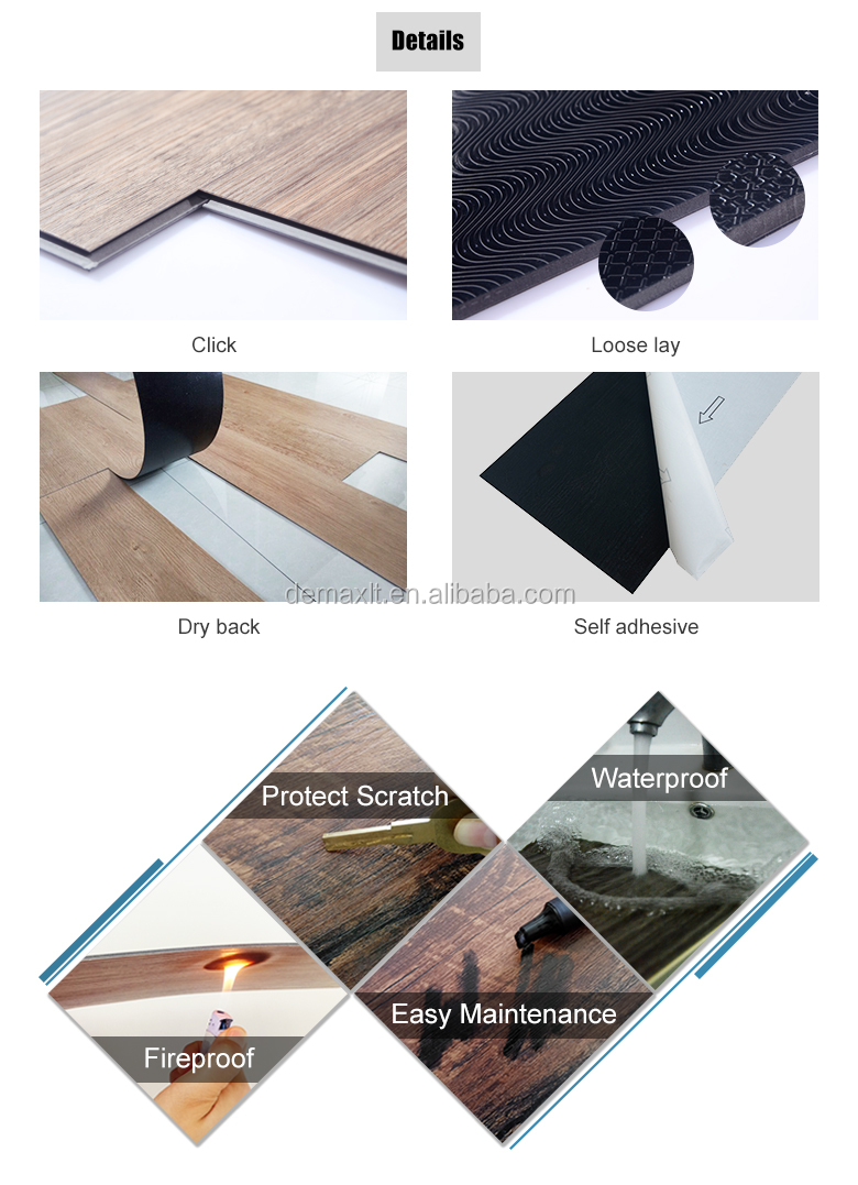 4.0mm thickness vinyl and stone plastic composite rigid spc flooring
