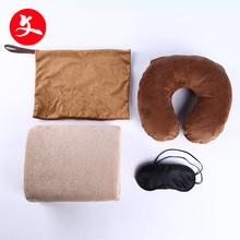custom memory foam cover eyemask and ear plug neck travel pillow