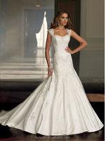 white lace satin mermaid off shoulder brides long wedding coat