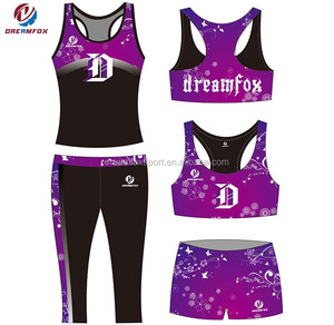 Comfortable Lycra Compression Cheer Bras and Shorts, Cheap Girls cheerleading practice wear