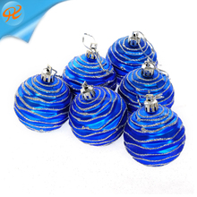 Factory Directly Sale plastic pearl light lake blue hand painting christmas ball for tree decoration