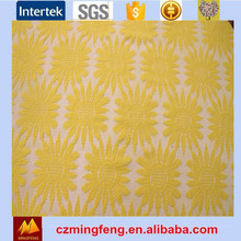 Yellow Sunflower Style Jaquard Lace Fabric For Long Sleeve Dress